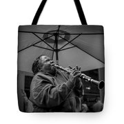 Clarinet Player In New Orleans Tote Bag by David Morefield