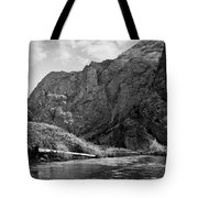 Clarks Fork River In Canyon Bw Tote Bag