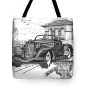 Classic Auto With Formal Gardens Tote Bag