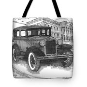 Classic Auto With Mills Mansion Tote Bag