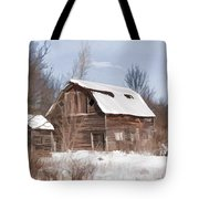 Classic Barn In Snow Tote Bag