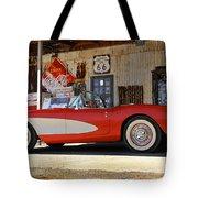 Classic Corvette On Route 66 Tote Bag