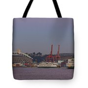 Classic Full Moon And Ferries Panorama Tote Bag
