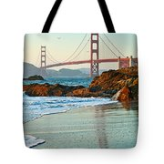 Classic - World Famous Golden Gate Bridge With A Scenic Beach And Birds. Tote Bag