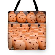Clay Pumpkins Standing Happy Near The Wood Fence Tote Bag