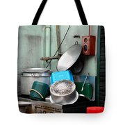 Clean Pots And Pans On Outdoor Sink Tote Bag