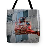 Cleaning Skyscraper Window And Wall With Snorkel Singapore Tote Bag