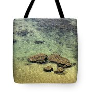 Clear Indian Ocean Water With Rocks At Galle Sri Lanka Tote Bag