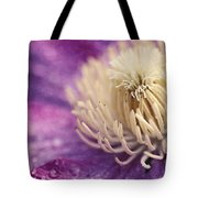Clematis-macro Photograph Of A Purple Clematis Tote Bag