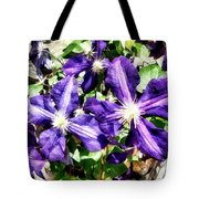 Clematis On A Stone Wall Tote Bag