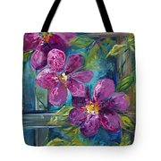 Clematis Turquoise Garden Tote Bag
