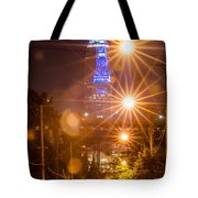 Cleveland Downtown Street View At Night Tote Bag