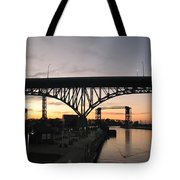 Cleveland Ohio Flats At Sunset Tote Bag