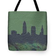 Cleveland Skyline Brick Wall Mural Tote Bag