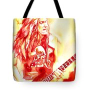 Cliff Burton Playing Bass Guitar Portrait.1 Tote Bag