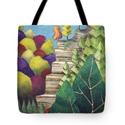 Cliff Overlooking Lake With Colorful Trees Tote Bag