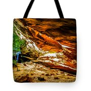 Cliff Rocks And Waterfall Tote Bag