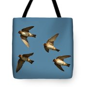 Cliff Swallows Flying Tote Bag