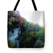 Rock Cliff With Trees Tote Bag