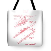 Climber For Skis 1939 Russell Patent Art Red On White Tote Bag