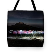 Climbers Trace Ghostly Shapes Tote Bag