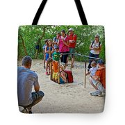Climbing Down The Ladder Into A Kiva At Spruce Tree House In Mesa Verde National Park-colorado Tote Bag