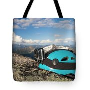 Climbing Helmet With Camera On Mountain Tote Bag
