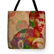 Clint Dempsey Soccer Player Usa Football Seattle Sounders Watercolor Portrait On Worn Canvas Tote Bag by Design Turnpike