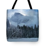 Cloaked In A Snow Storm Tote Bag by Heidi Smith