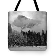 Cloaked In A Snow Storm - Monochrome Tote Bag