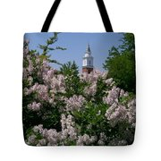 Clock Tower And Lilacs Tote Bag