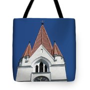 Clock Tower. Evangelic Lutheran Church. Silute. Lithuania. Tote Bag