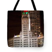 Clock Tower In Chicago  Tote Bag