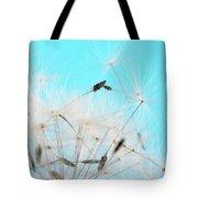 Close-up Dandelion Seeds Against Blue Tote Bag