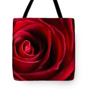 Close Up Of A Red Rose Tote Bag