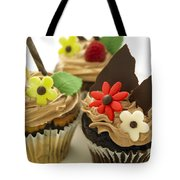 Close-up Of Three Chocolate Cupcakes Tote Bag