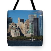 Close View Of Downtown Manhattan Eastern Skyline Tote Bag