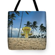 Closed Lifeguard Shack On A Deserted Tropical Beach With Palm Tr Tote Bag