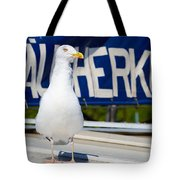 Closeup Of A Seagull On A Fisher Boat  Tote Bag