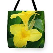 Closeup Of A Tropical Yellow Canna Lily Tote Bag