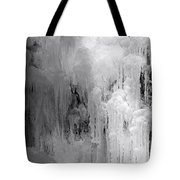Closeup Of Icy Waterfall - Black And White Tote Bag