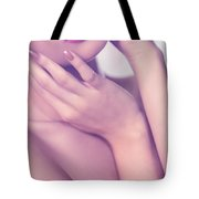 Closeup Of Sensual Woman Mouth And Pink Lips Tote Bag