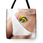 Closeup Of Sexy Woman Body With A Lollipop In Her Underwear Tote Bag
