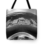 Cloud Gate Under The Bean Black And White Tote Bag