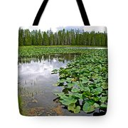 Clouds Among The Lily Pads In Swan Lake In Grand Teton National Park-wyoming  Tote Bag
