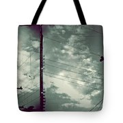 Clouds And Power Lines Tote Bag