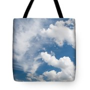 White Cirrus And Cumulus Clouds Formation Mix Tote Bag
