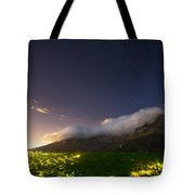Clouds Loom Over Table Mountain In Cape Tote Bag