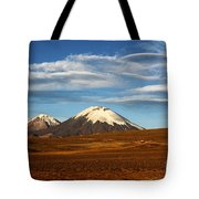 Clouds Over The Payachatas Volcanos  Tote Bag
