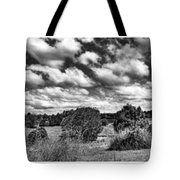 Cloudy Countryside Collage - Black And White Tote Bag